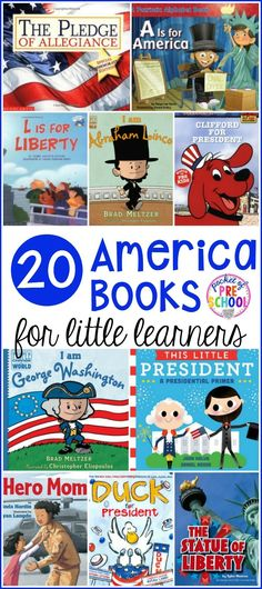 20 America books for little learners! Perfect for President's Day election time of July Veteran's Day for an America theme or for a unit about American symbols and the flag. Kindergarten Social Studies, Preschool Books, Kindergarten Activities, Preschool Activities, Presidents Book, Science Symbols, Toddler Themes, American Symbols, American Flag