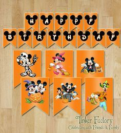 INSTANT DOWNLOAD Mickey Mouse Halloween Happy Birthday Sign / Banner- Digital File - Printable - Mickey - Minnie - Halloween BDay Party