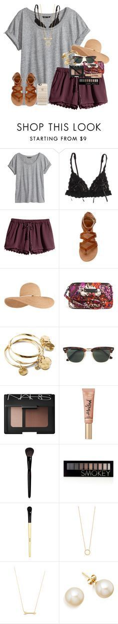 """beachy vibesss "" by mehanahan ❤ liked on Polyvore featuring H&M, Hanky Panky, Eugenia Kim, Vera Bradley, Ray-Ban, NARS Cosmetics, Yves Saint Laurent, Forever 21, Bobbi Brown Cosmetics and Jennifer Zeuner"