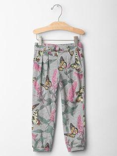 Printed bow jogger pants