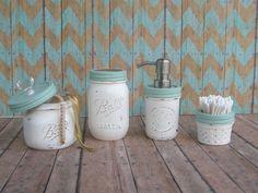 Nautical Beach Cottage Sea Glass and Warm by masonjarlampsandmore, $35.00