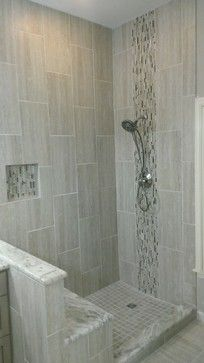 "MASTER BATHROOM - Complete remodel 12"" x 24"" Vertical Tile - contemporary - Bathroom - Austin - Custom Surface Solutions"