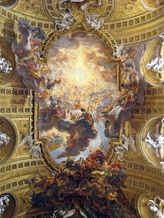 Gaulli's Triumph of the Name of Jesus - Rome - Ceiling Fresco... Can you tell where the 3D ends and 2D begins?