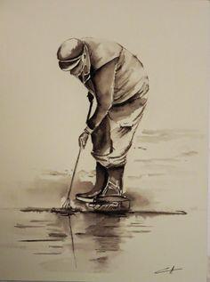 Mes petites aquarelles: Le pêcheur à pied
