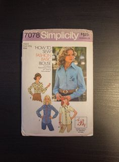 """1975 Simplicity 7078 """"How to Sew"""" Blouse Pattern by JenuineCollection on Etsy #vintage #sewingpattern #beginners"""