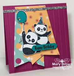 Party Pandas (SAB2018), Picture Perfect Party dsp stack, Simple Stripes embossing folder - all from Stampin' Up!