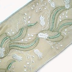 Ribbon Lily of the Valley Embroidered 2 1/2 inch - Beige, White, Pale Green