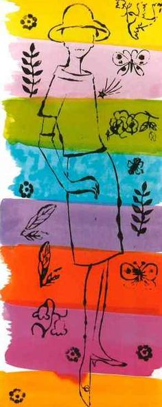 Female Fashion Figure with Flowers and Plants, c.1960  by Andy Warhol
