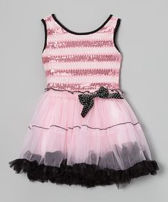 Pink & Black Paillette Tulle Dress - Toddler & Girls by Beary Basics on #zulily today!