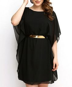 Another great find on #zulily! Black Belted Cape-Sleeve Dress - Plus #zulilyfinds