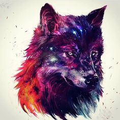 Galaxy Wolf By _ Also check out our new art featuring page Artwork Lobo, Wolf Artwork, Galaxy Wolf, Galaxy Art, Cute Animal Drawings, Cute Drawings, Wolf Painting, Bild Tattoos, Wolf Spirit Animal