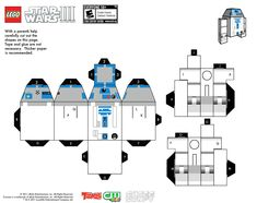 How to make R2-D2 in Cubeecraft. Just print, cut and assemble it!... many others figures