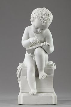 """Bisque """"Enfant écrivant"""" after Charles-Gabriel Sauvage, called Lemire (1741-1827). Manufactured in Choisy-le-Roi. Apocryphal signature on the base: Canova."""