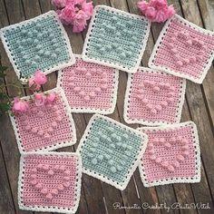Bobble stitch squares.