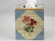 Floral tissue box cover,    decoupaged and hand painted, blue and white checked background, different flowers each side, white and gold trim...