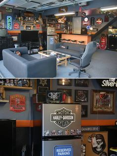 I love this guys man cave, he's a retired cop too thats awesome, mine will have a bar too with the serving table, pool table, workout equipment one side gaint flat screen tv, walls litered with my favorite brand names and cars, trophys, bikes, a firepole/stripper ole so both the wife and me can enjoy.
