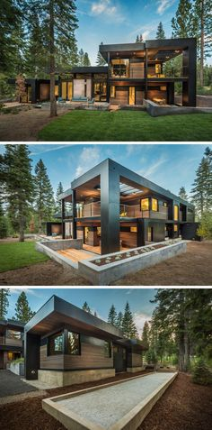 The home, designed as a secluded and relaxing environment for a family, has plenty of outdoor room and combines wood with black elements for a dramatic color palette.