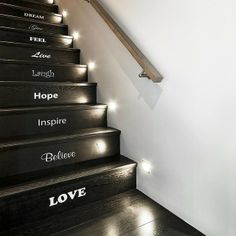 DIFFERENT VERSION of this idea...My father had the Twelve Steps engraved on the TOP/surface of each step of his spiral staircase at his home. I would LOVE a more modern look, with each step engraved in metal/whatever material we use for our stairs. What a lovely reminder.....