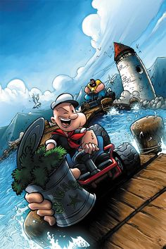 """Popeye the Sailor. """"This is a video game cover that I colored. Original art by Andie Tong. Classic Cartoon Characters, Classic Cartoons, Fictional Characters, 90s Cartoons, Animated Cartoons, Cartoon Kunst, Cartoon Art, Cartoon Wallpaper, Digital Art Illustration"""