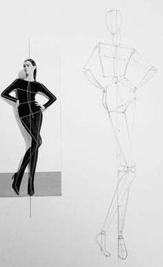 Fashion Model Sketch, Fashion Design Sketchbook, Fashion Design Drawings, Fashion Sketches, Fashion Drawing Tutorial, Fashion Figure Drawing, Fashion Illustration Template, Fashion Illustration Dresses, Female Croquis