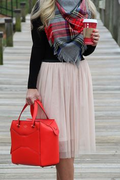 Tulle skirt and plaid scarf  - Cort In Session