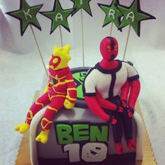 Ben10 cake with flame ben 10 and red squid