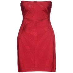 Hervé Léger By Max Azria Short Dress ($1,105) ❤ liked on Polyvore featuring dresses, red, short tube dress, short red dress, short sleeveless dress, zipper mini dress and red dress