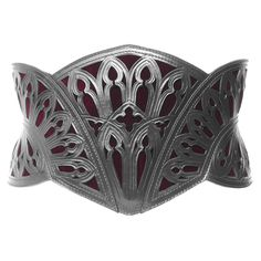 Cathedral Corset Belt. Hand cut and tooled leather + velvet inlay. http://www.cristianetano.com