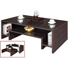 Get organized with a 2-in-1 coffee tableTable is constructed with two tables which can be used separately or completely nested into oneCoffee table features substantially built pocket shelves to provide storage or display space