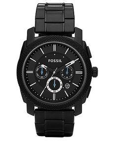 0a49b40b75806 Fossil Men s Chronograph Machine Black Stainless Steel Bracelet Watch 45mm  FS4552