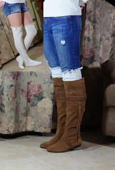 Cozy soft knit leg warmer socks for lady's or girls  boot socks Ivory color with embroider lace and button   model have this socks with crochet lace and last picture trim with embroider lace , if you like crochet or embroider lace send me message.  in picture you will receive exactly they described!  any question please send me message :-)  one size and 21 inches long Lace Boot Socks, Knit Leg Warmers, Silk Stockings, Blue Socks, Warm Socks, Embroidered Lace, Sock Shoes, Crochet Lace, Women Accessories