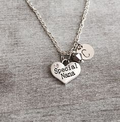 Special Nana Heart necklace, Nana gift, Silver Plated Necklace, Nana Necklace, Nana Jewelry, Nana Pendant, Personalized Necklace, Initial by SAjolie, $18.95 USD