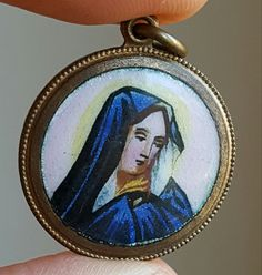 Antique Spanish Hand Painted Enamel Blessed Mother Medal Pendant Virgin Mary Catholic Jewelry Sorrowful Mary Sorrows of Mary Catholic Gift by PinyolBoiVintage on Etsy