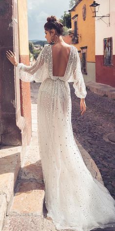 dream wedding dresses sheath open back with puff sleeves sequins julie vino – Bridal Gowns - Schuhe Long Wedding Dresses, Long Sleeve Wedding, Designer Wedding Dresses, Bridal Dresses, Wedding Gowns, Lace Wedding, Fashion Wedding Dress, Bridesmaid Dresses, Hippie Wedding Dresses