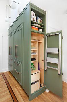 """Design Me a Kitchen Around This Green Velvet Pillow"" Smart Kitchen, Mini Kitchen, Clever Kitchen Ideas, Clever Kitchen Storage, Kitchen Organisation, Organization Station, Compact Kitchen, Mini Closet, Closet Small"