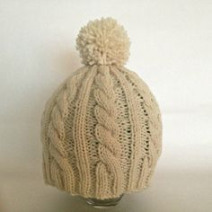 Cable knit hat pompom hat hand knit beanie cable by KnittingbyKali