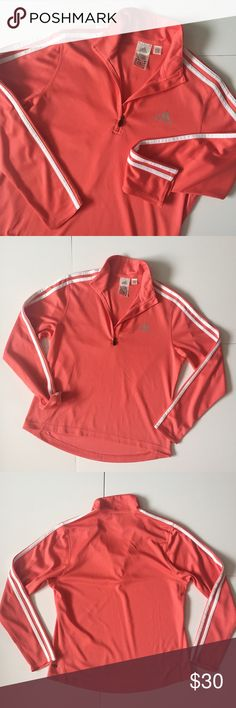 """Adidas ClimaCool Coral Track Jacket Adidas ClimaCool Track Jacket in Coral color with white stripes. Half zip on the front with silver Adidas logo. Back is a little longer then the front-- front about 22 1/2"""" long, back 25"""" long, 19 1/2"""" pit to pit, sleeves 19"""" long. 100% polyester. Has a mesh-like look and feel to it. Has a small collar. Good condition. NO TRADES. adidas Tops Sweatshirts & Hoodies"""