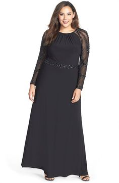 Marina Beaded A-Line Jersey Gown (Plus Size) available at #Nordstrom