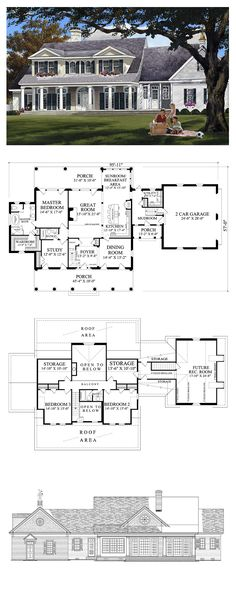 *** Plantation House Plan 86148 | Total Living Area: 2994 sq. ft., 4 bedrooms & 3 bathrooms. #houseplan #plantationstyle