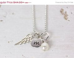 CYBER SALE - Black Friday Little Angel necklace - Personalized Initial necklace - Angel Wing - Layering Necklace - Minimalist Simple Style