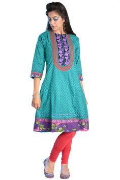 """""""#U Neck Printed #Kurti""""  100% Cotton ptinted Round nedk with U shape embroidered front neck yoke knee length kurti designed by """"Nisha"""". Wearable for both casual and party mood. Price: 695"""