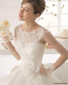 aire barcelona wedding dresses 2015 azzuro cap sleeve wedding dress illusion lace bodice