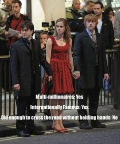 I love Harry Potter Old enough to cross road without holding hands? Harry PotterOld enough to cross road without holding hands? Mundo Harry Potter, Harry Potter Cast, Harry Potter Quotes, Harry Potter Fandom, Harry Potter Humour, Harry Potter Spells List, Harry Potter Friendship, Harry Potter Pictures, Harry Potter Characters