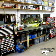 Mercenary: Mercenary Garage www. Mercenary: Mercenary Garage www. Garage Shed, Garage Tools, Garage House, Garage Workshop, Dream Garage, Motorcycle Workshop, Motorcycle Garage, Garage Tool Organization, Garage Storage