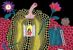 Illustrazione tratta da Le avventure di Alice nel paese delle meraviglie attraverso l'arte di Yayoi Kusama, orecchioacerbo, Roma 2013