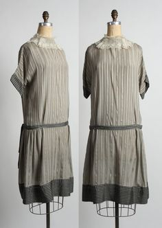 Antique Striped Silk Dress by VeraVague on Etsy Lace Collar 71dd1e629