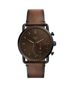 Fossil Q Men's Men's Q Commuter Dark Brown Leather Hybrid Smartwatch - Dark Brown - One Size