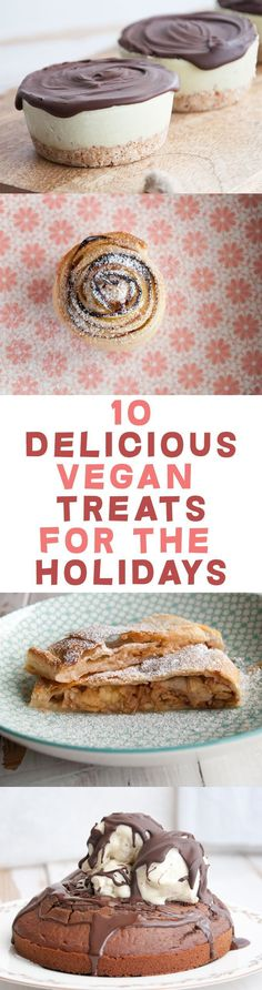10 Delicious Vegan Treats for the Holidays ElephantasticVega... Vegan Christmas Desserts, Vegan Holiday Recipe, Easy Vegan Recipes Dessert, Vegan Cookie Recipes, Vegan Desert Recipes, Easy Vegan Cookies, Healthy Christmas Treats, Vegetarian Christmas Recipes, Vegan Christmas Cookies