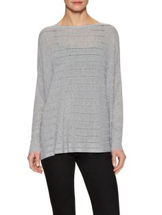 Open Knit Striped Easy Sweater by Eileen Fisher at Gilt