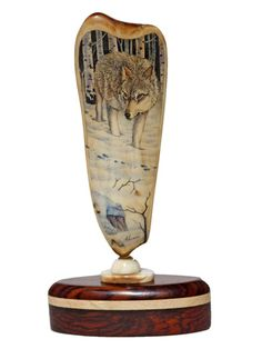 """Rabbit Tracks"" Color Scrimshaw on Ancient Walrus Tusk Ivory by David Adams…"